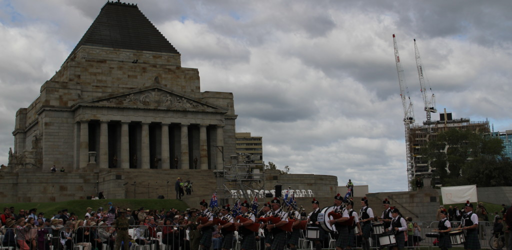 Marching in front of the Shrine of Remembrance on ANZAC day 2013