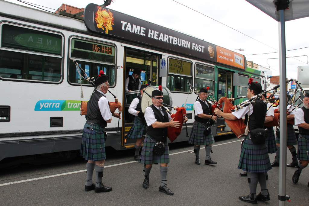 The band stuck up a tune while departing the number 48 tram